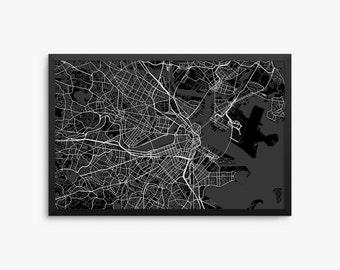 Boston City Street Map, Boston Massachusetts USA, Modern Art Print, Office Decor, Boston Decor, Boston Map, Boston Poster, Boston Gift Idea