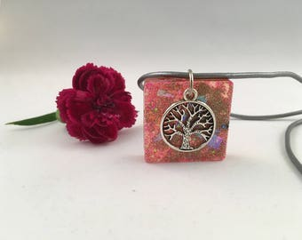Boho tree of life pink pendent with iridescent flakes on genuine leather cord