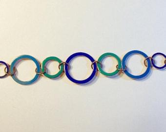 Enamel Rings Bracelet -  Blues and Greens