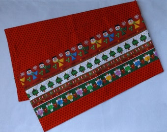 Closeout Sale - Christmas Table Runner - Snowmen, Angels with Dots