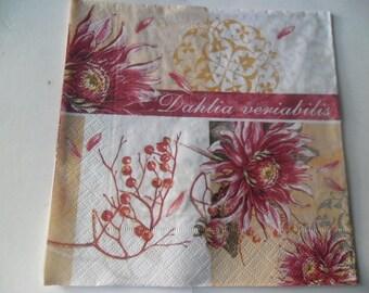 x 1 napkin patterns flowers beige and white dahlia 33 x 33 cm