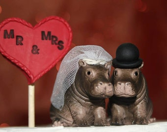 Hippo Bride And Groom Custom Wedding Cake Topper - Animal Wedding Cake Topper - Jungle Wedding - Safari Wedding - Personalized Topper