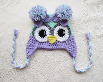 READY TO SHIP - 1 to 3 Year Size - Lilac Purple and Mint Green Colored Crochet Owl Hat