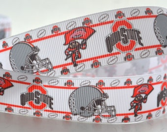 Ohio State Buckeyes Inspired Sports Football Game Printed Grosgrain 7/8""
