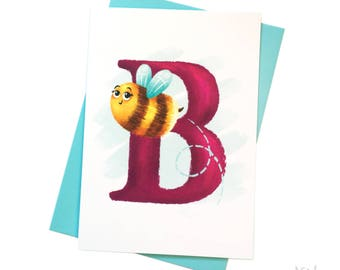 Illustrated -  Alphabet - Greeting Card - B is for Bee
