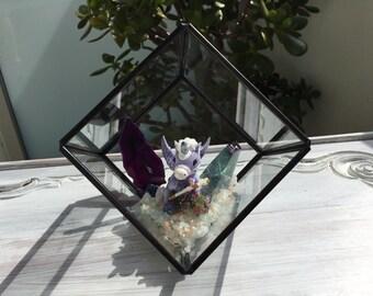 Unicorn Crystal Garden Terrarium Glass Cube
