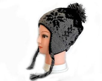 100% wool Handmade ear flap hat snowflakes design