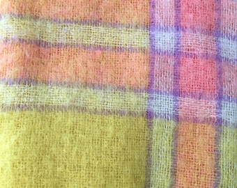 """Vintage Heather Brae by Tweedvale Rugs Scottish Mohair Yellow and Pink Plaid Throw Blanket 50"""" x 68"""" Made for the Broadway Dept Store-throw"""