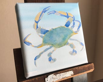 """Canvas reproduction giclee PRINT from original watercolor: """"Blue Crab Flight"""""""