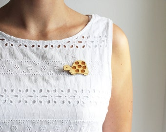 Laser Cut Wooden Turtle Brooch/ Tortoise Brooch