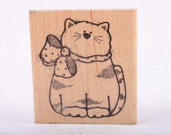 XL, Fat Cat, House Cat, Bow, Single Stamp, Rubber Stamp, Vintage, Card making, Scrapbooking ~ 161221
