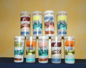 Tom Collins by Gay Fad, Antique Car Frosted Glasses, Set of 9 Tom Collins by Anchor Hocking