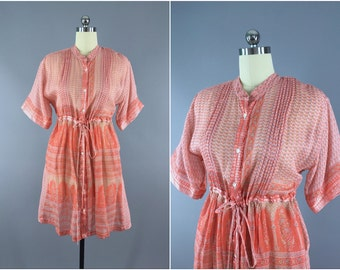 India Cotton Dress / Vintage Indian Cotton Sari Dress / Boho Bohemian Dress Shirtdress Summer Dress / Peach Floral Print  / L XL