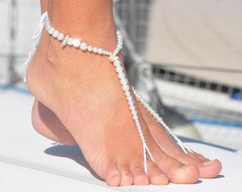 Pearl Barefoot Sandals | Boho Bride | Pearls & Shells Foot Jewelry | Beaded Barefoot Sandals | Bridesmaid Gift Ideas | Beach Wedding Sandals