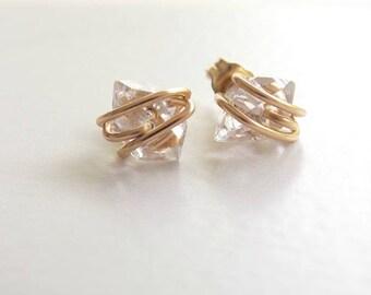 Rose Gold Filled, 14kt  Gold Filled or Sterling Silver  Herkimer Diamond Earrings. Post Earrings, Diamond, Bridal.