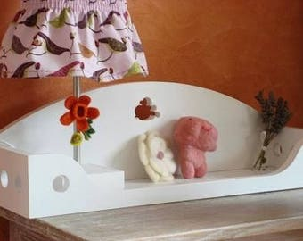 Wall shelf with toys in the shape of a balcony, white
