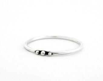 Silver ring Three Dots, slim silver ring, thin silver ring, silver ring with balls