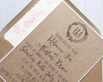 Rustic wedding invitation - kraft and blush wedding invitation
