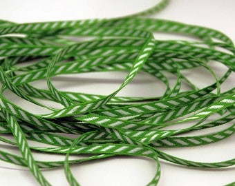 Solid Diagonal Stripe Ribbon -- 1/8 inch -- Parrot Green Bright Green