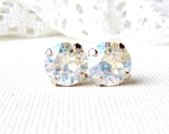 Crystal Moonlight rhinestone stud earrings / 8mm / Mothers day / faux diamond / Swarovski / wedding / bridesmaid earrings / gift for her