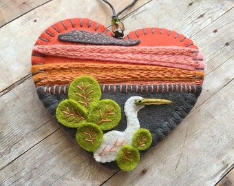 Egret at Sunset Embroidered Felt Ornament - Ready to Ship