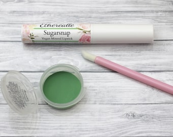 "Vegan Green Lipstick - ""Sugarsnap"" (bright green lipstick) natural lip tint, balm, lip colour opaque mineral lipstick"