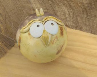 Handmade ceramic, ceramic owl ornament, yellow owl, stoneware ball, creative ceramics, ceramic bell owl, ceramic single piece