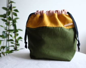 Colour Blocked Linen Drawstring Project Bag
