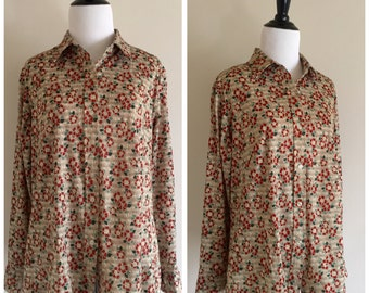 Women's Vintage XL Tan and Sepia Brown Floral Sears Blouse
