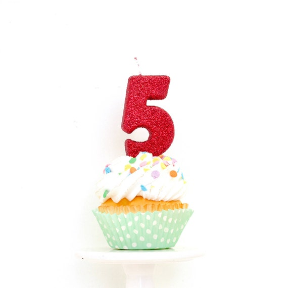 """3"""" Number 5 Candle, Giant 5 Candle, Large Red Candle, Giant Glitter Candle, Red Birthday Candle, Glitter Birthday, Red Party Decor"""