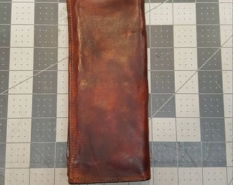 Men's Distressed Brown Leather Long Wallet