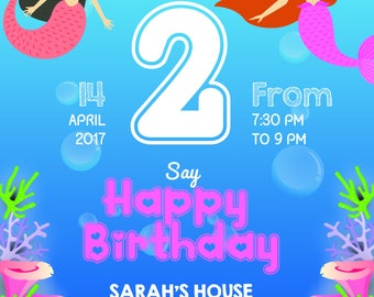 Mermaid Birthday Party Invitation!!