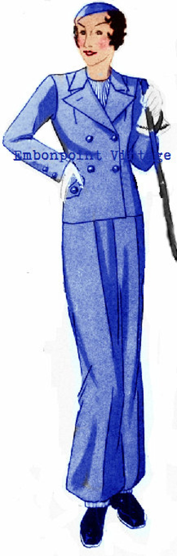 1930s Sewing Patterns- Dresses, Pants, Tops 1934 Pant Skirt Suit - PDF - Pattern No 107 Earlene 1930s 30s Pattern Plus Size Pattern (or any size)  AT vintagedancer.com