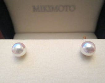 earrings morning pearl sapphire mikimoto dew white gold
