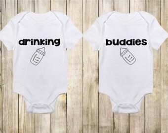 Funny Onesies® - Cute Onesies - Twin Onesies - Drinking Buddies Onesies - Baby Boy - Baby Girl - Baby Onesies - Baby Clothing-Gift for Baby