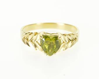 14k Peridot Heart Cut Prong Set Diamond Cut Leaf Ring Gold