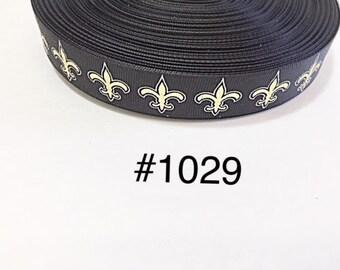"3  yard 7/8"" Gold Fleur De Lis on Black Grosgrain Ribbon Hair Accessories Craft Supply"