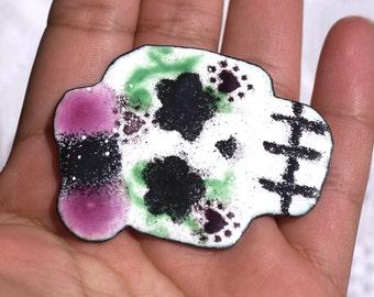 Starstruck Girl Skull - Dia del Muerto - Day of Dead Vitreous Enamel Piece