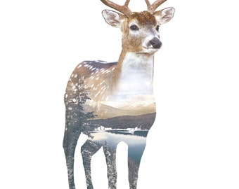 Deer Animal Double Exposure Art Print - Faunascapes by WhatWeDo