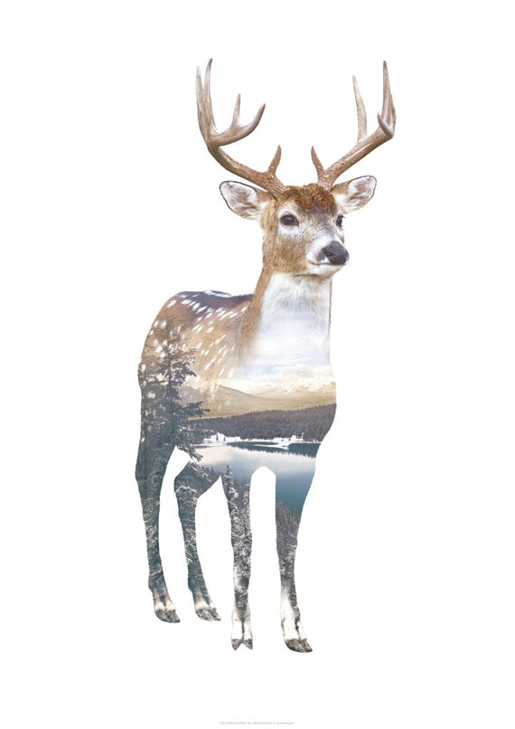 Deer Animal Double Exposure Art Print Faunascapes By
