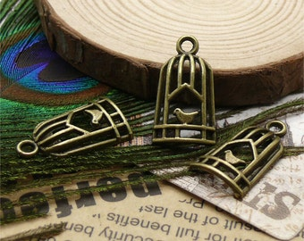 12pcs 14x25mm Antique Bronze birdcage pendant jewelry findings  Charm Pendant ,metal finding