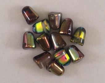 Gumdrop Beads - 7x10mm - Magic Flame - Czech Glass - 6 Beads - GDP10-95400