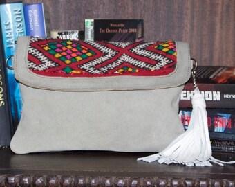 Kilim Bag, Moroccan bag, Boho Style, Grey suede, White  Leather Tassel, bag, Mothers Day   -  Ethnic/ Boho/ Berber / Handmade in Morocco,