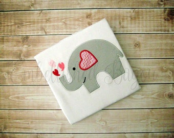 Valentine's Appliqued Elephant with Hearts T-shirt for Girls