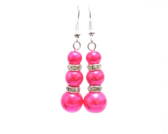 pink pearl earrings, pink earrings, pearl earrings, dangle earrings, earrings, bridesmaid earrings, drop earrings
