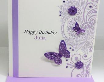 Personalised Handmade Birthday Card 16th,18th,21st,30th,40th,50th,60th Lilac