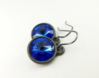 Sapphire Birthstone Earrings September Birthstone Jewelry September Birthday Sapphire Crystal Earrings