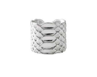 Ring Python skin embossed in silver L