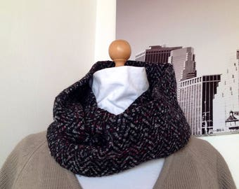 Snood double round black and Burgundy