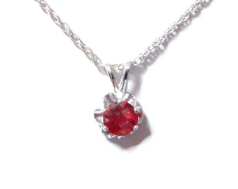 Red Labradorite sterling silver pendant with chain